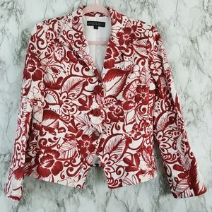 Lafayette 148 Silk Linen Floral Blazer Jacket 10 P